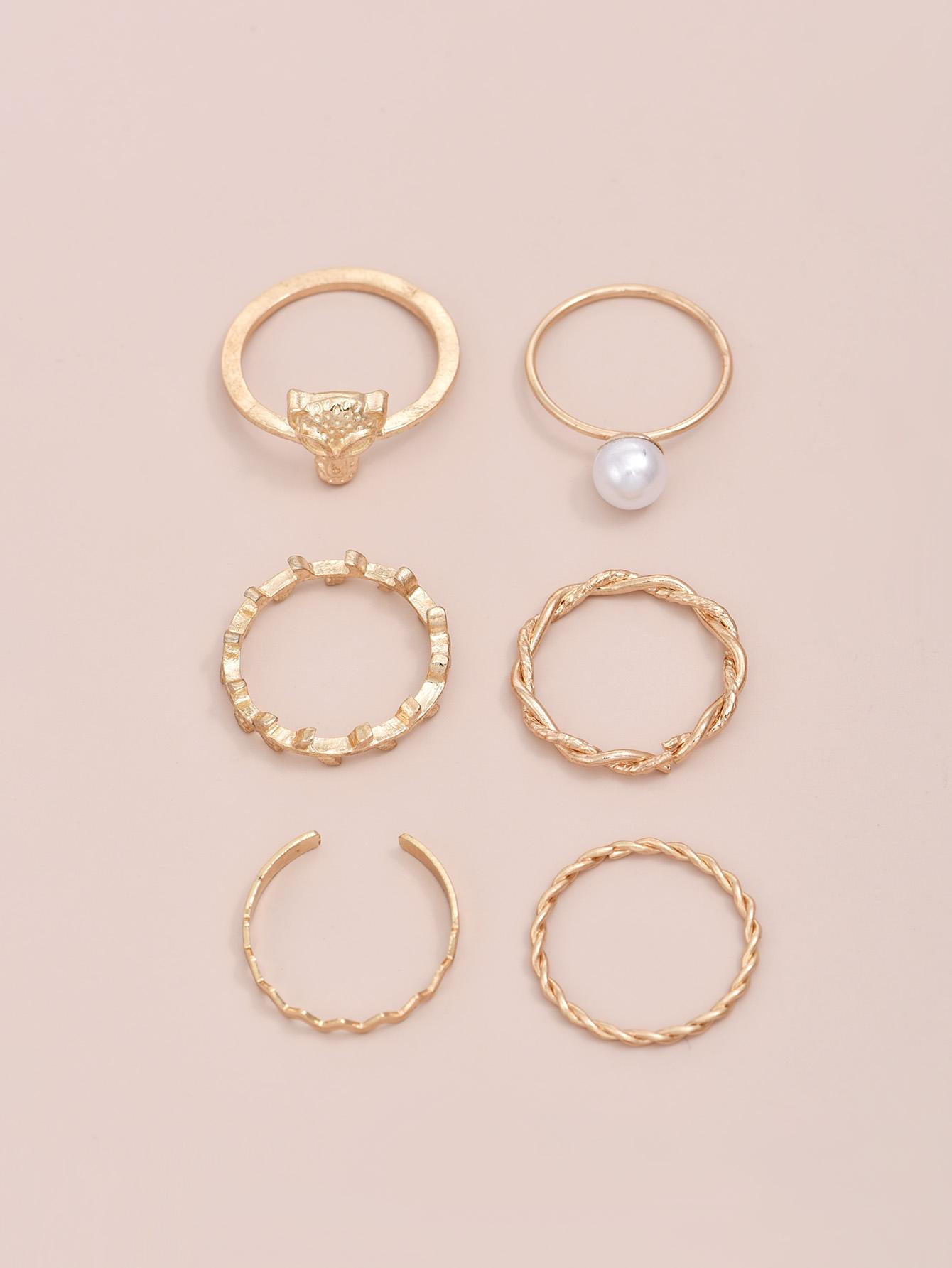 creative leopard head pearl ring set NHAJ336762