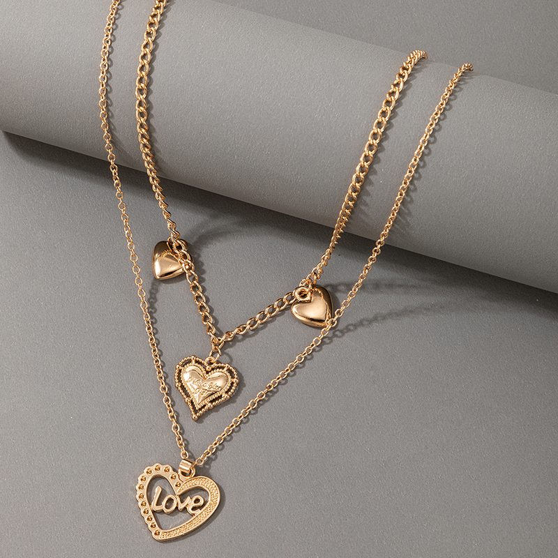 new peach heart twolayer necklace NHGY337942
