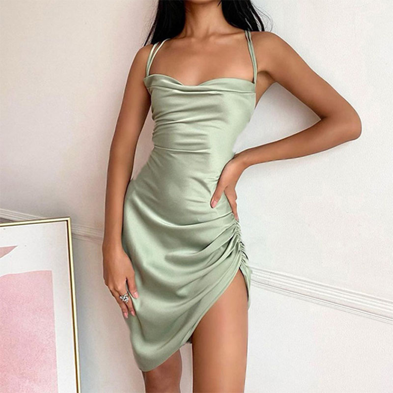 new sling pure color short sleeveless dress NHIS340242