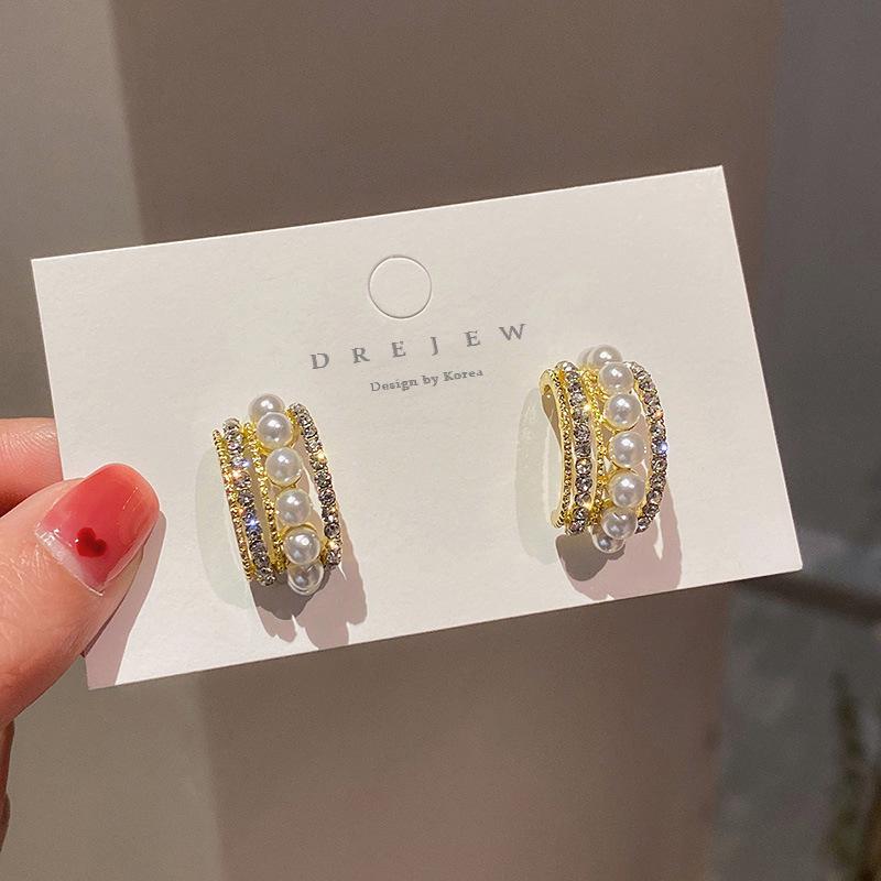 925 silver needle diamond pearl Cshaped earrings  NHQC341615