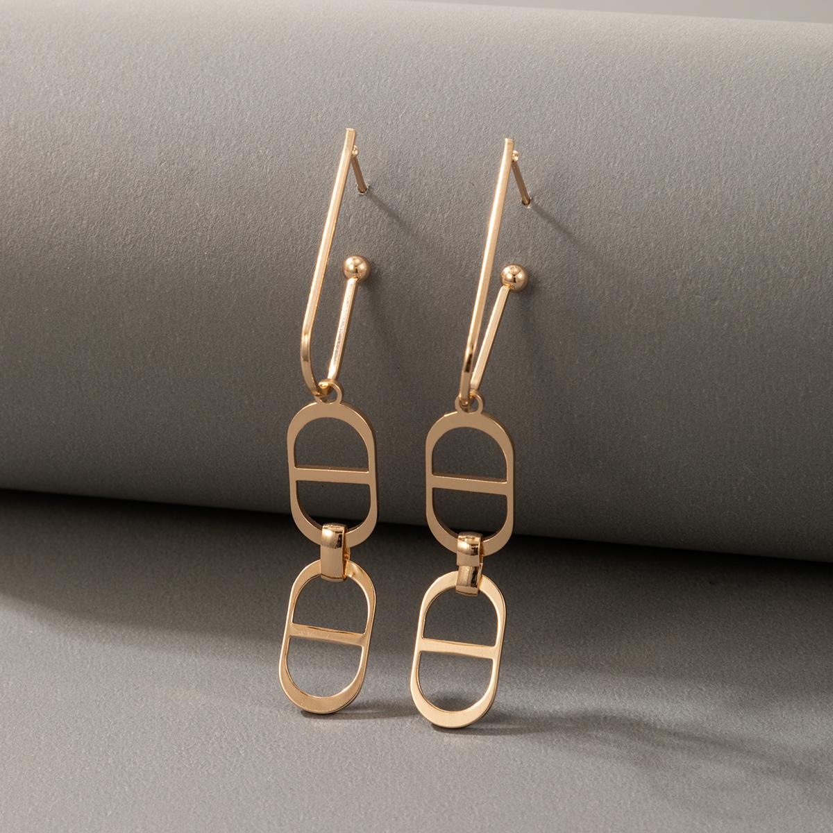 fashion simple golden figure 8 earrings NHGY331169