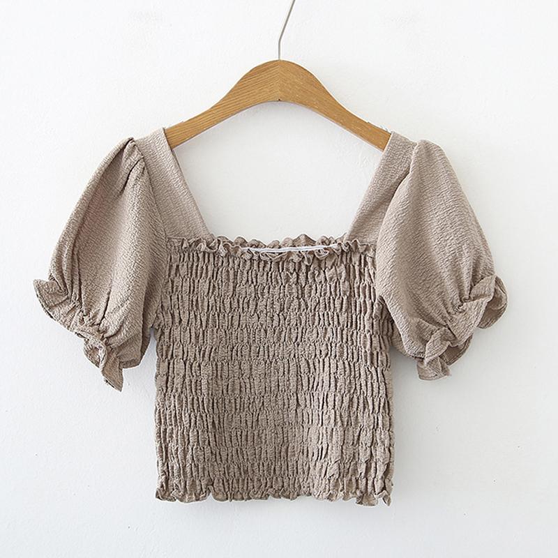Square neck elastic retro Tshirt NHZN331156