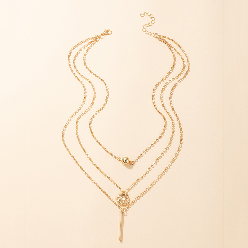 korean fashion new style geometric alloy pendant multilayer necklace NHGY348822