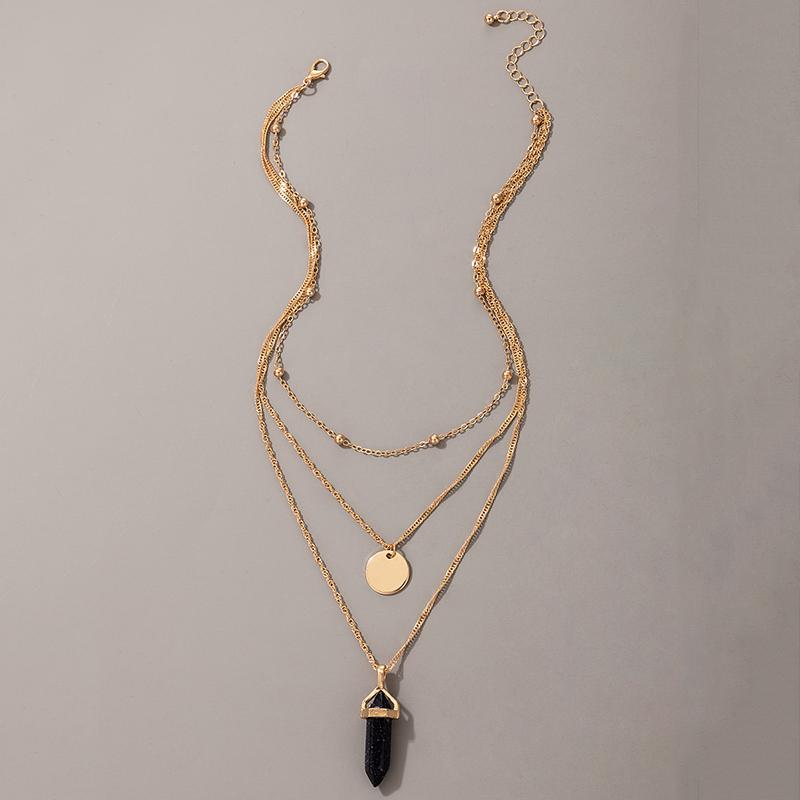 punk style chain round piece bullet pendant necklace 3piece set NHGY348834