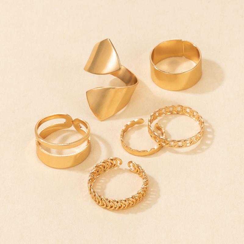 new fashion punk style exaggerated geometric ring 6piece set NHGY354770