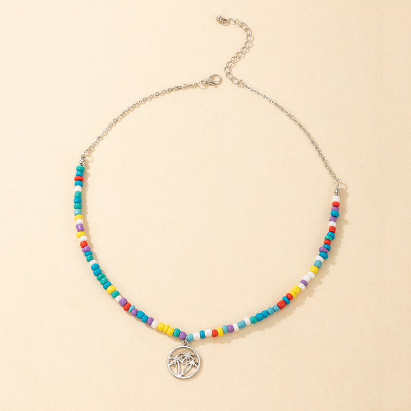 new style bohemian fashion colorful rice bead womens necklace NHGY355451