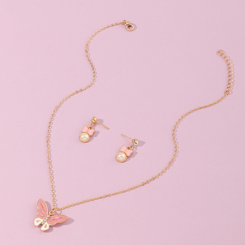 Korea new pink butterfly pendant pearl necklace NHNU355429