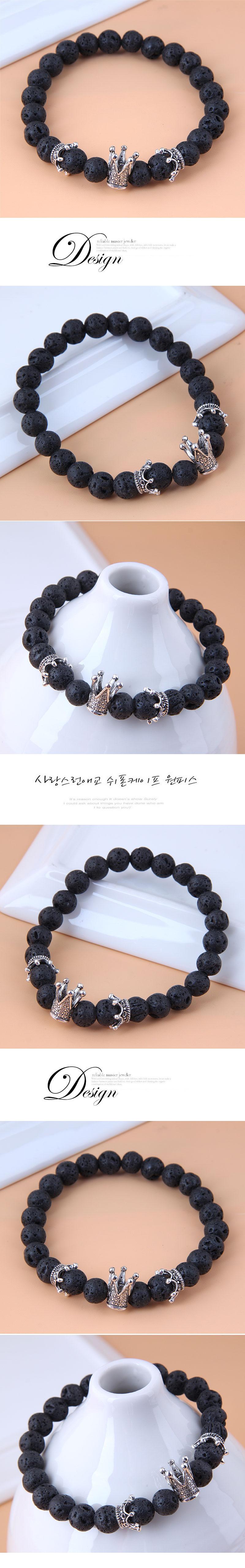Bracelet en alliage de pierre volcanique avec couronne en mtal de mode en gros NHSC347574
