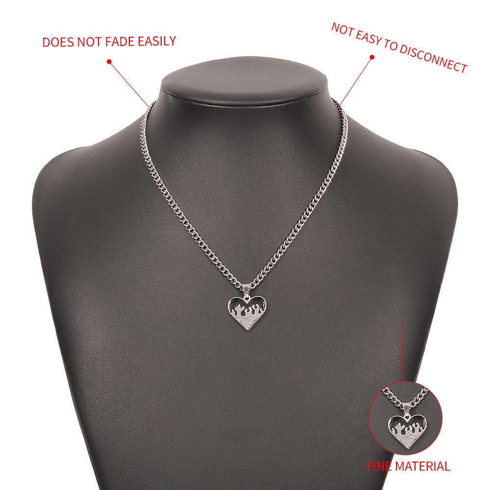 hip hop heart pendent alloy necklace NHMD368685