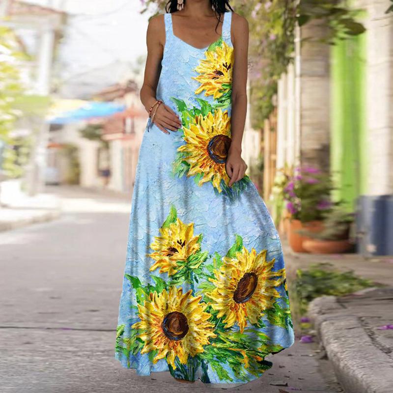 Fashion Sleeveless Printed Backless Onepiece Dress NHUO368900