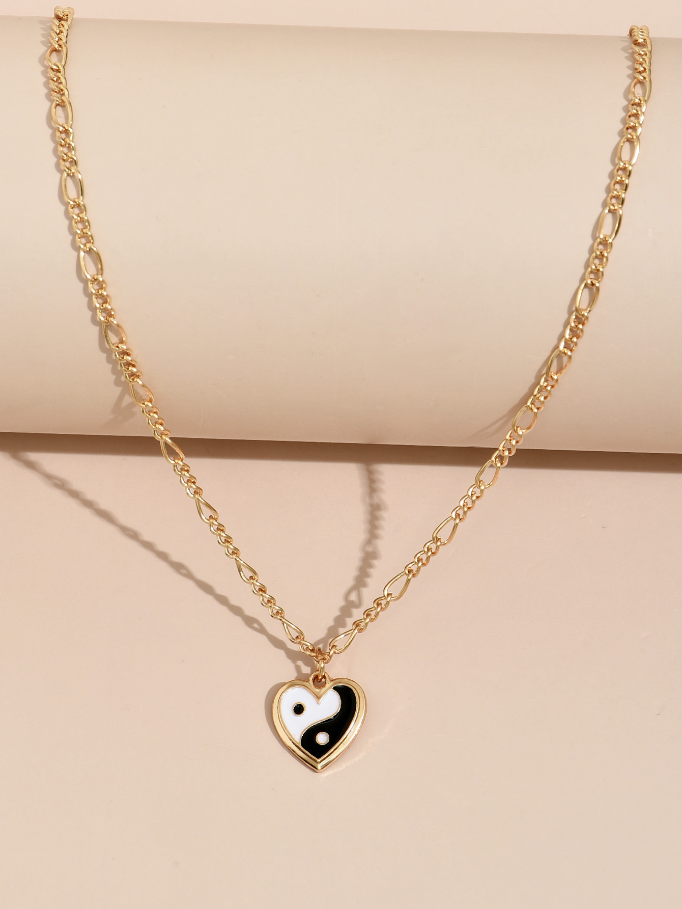 Fashion dripping oil the eight trigrams heart pendent necklace NHAJ368948