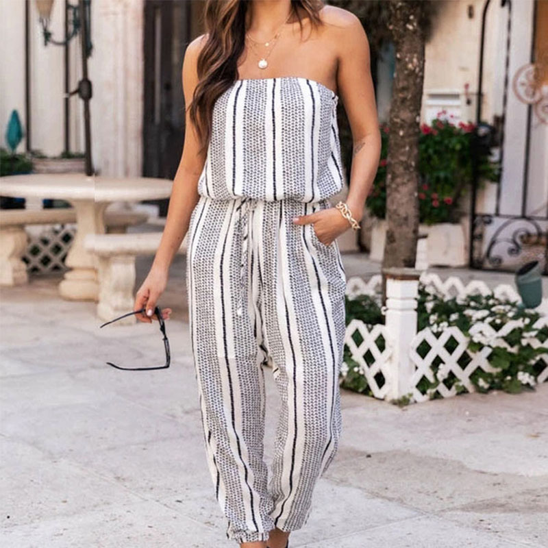 New Striped Wrapped Chest Loose Tie Foot Pants  NHIS368981