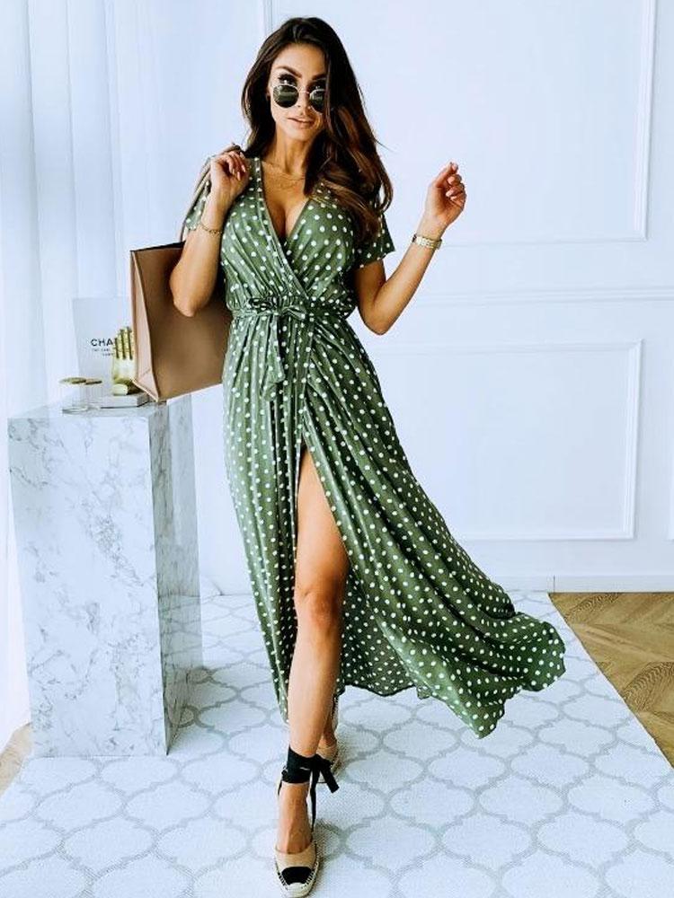 Fashion Short Sleeve Vneck Polka Dot Print Dress NHJC368964