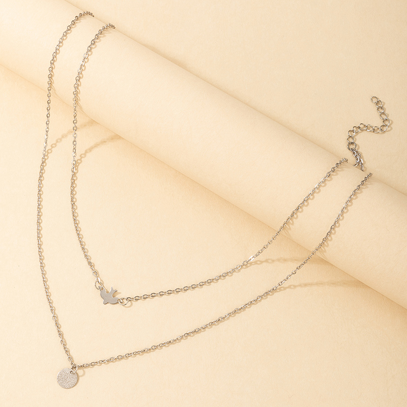 punk silver geometric multilayer necklace wholesale  NHGY367333