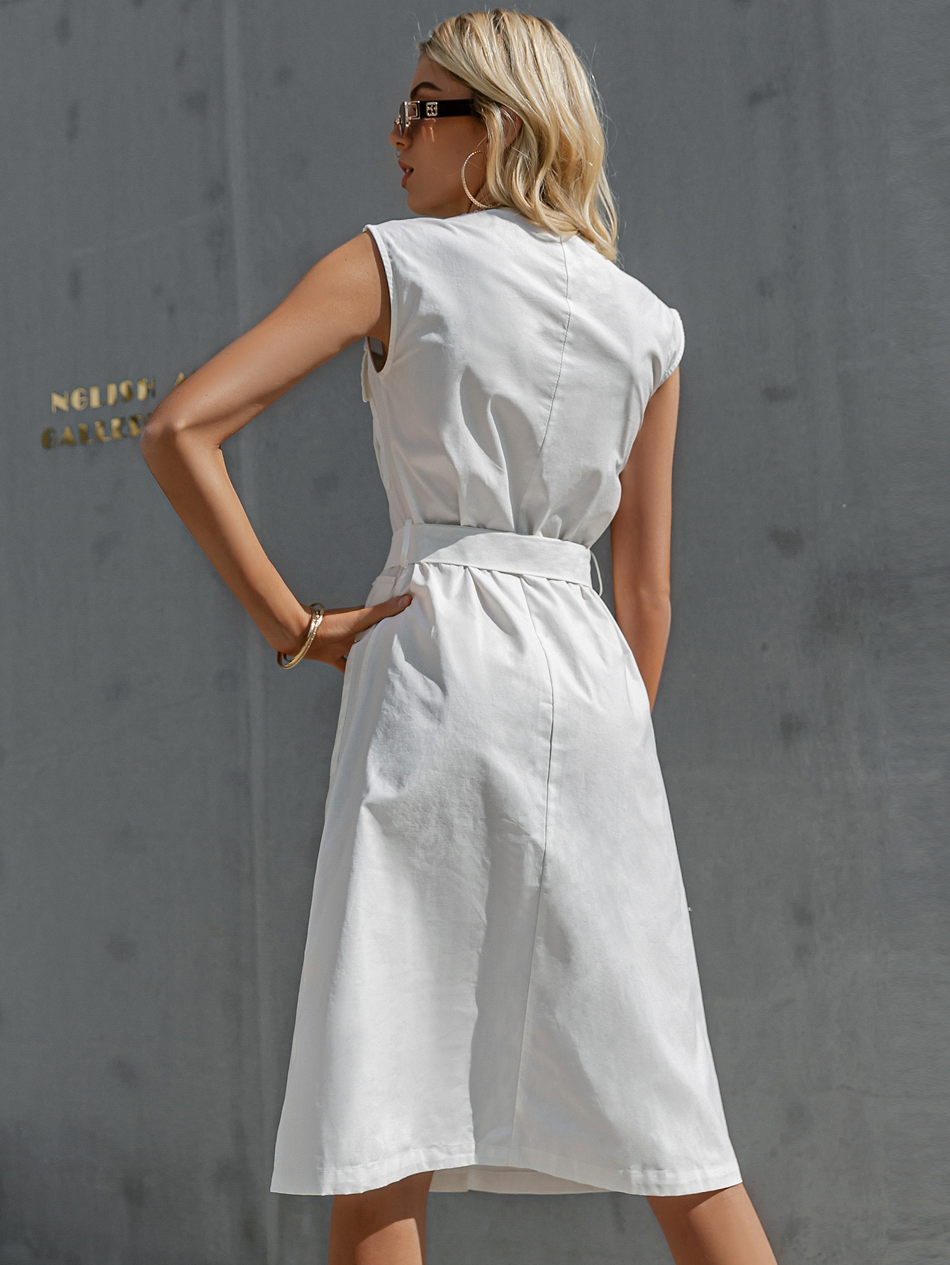 Simple white Vneck button knotted belt dress NHDE368455