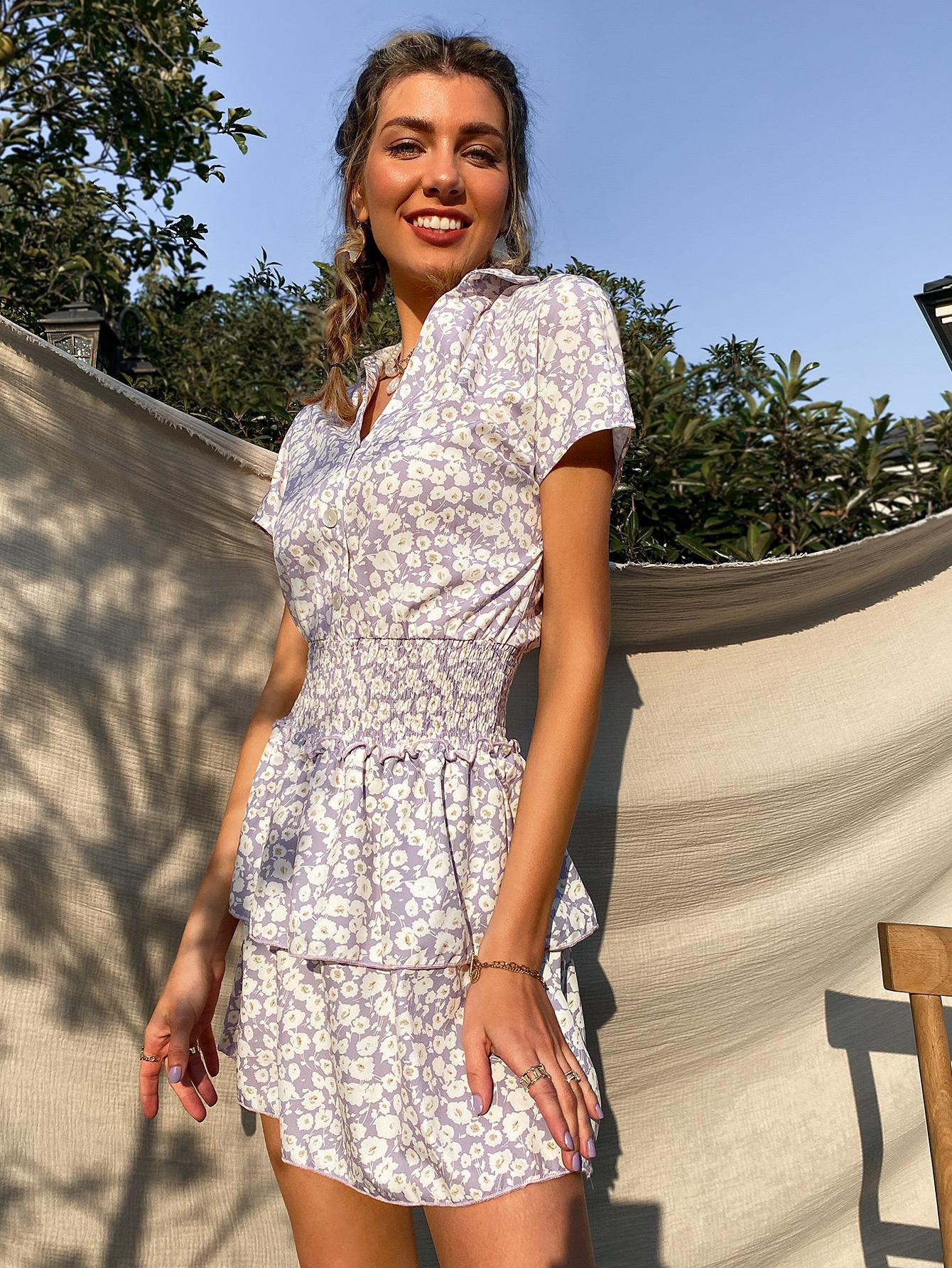 Fashion Lapel Short Sleeve Waist Floral Dress NHDE368483