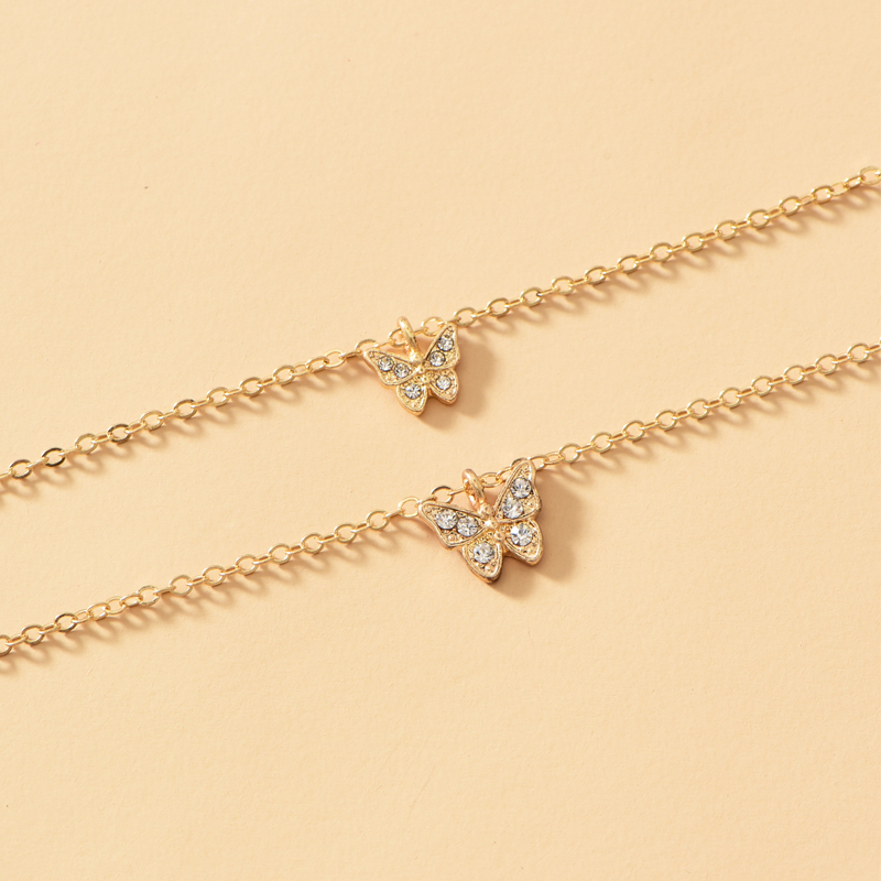 fashion diamondstudded butterfly pendent multilayer necklace NHOT368779