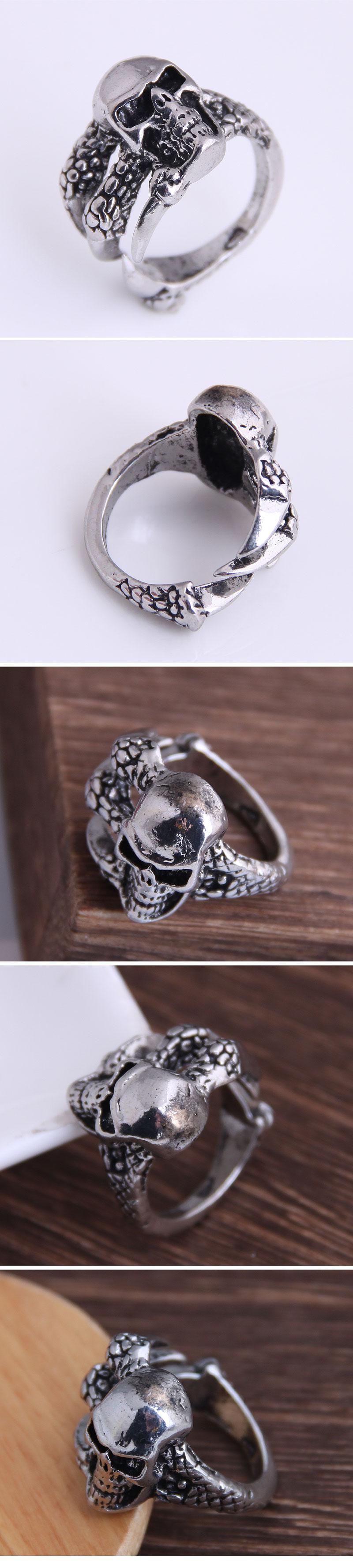 retro simple skull mulilayer open ring NHSC368758
