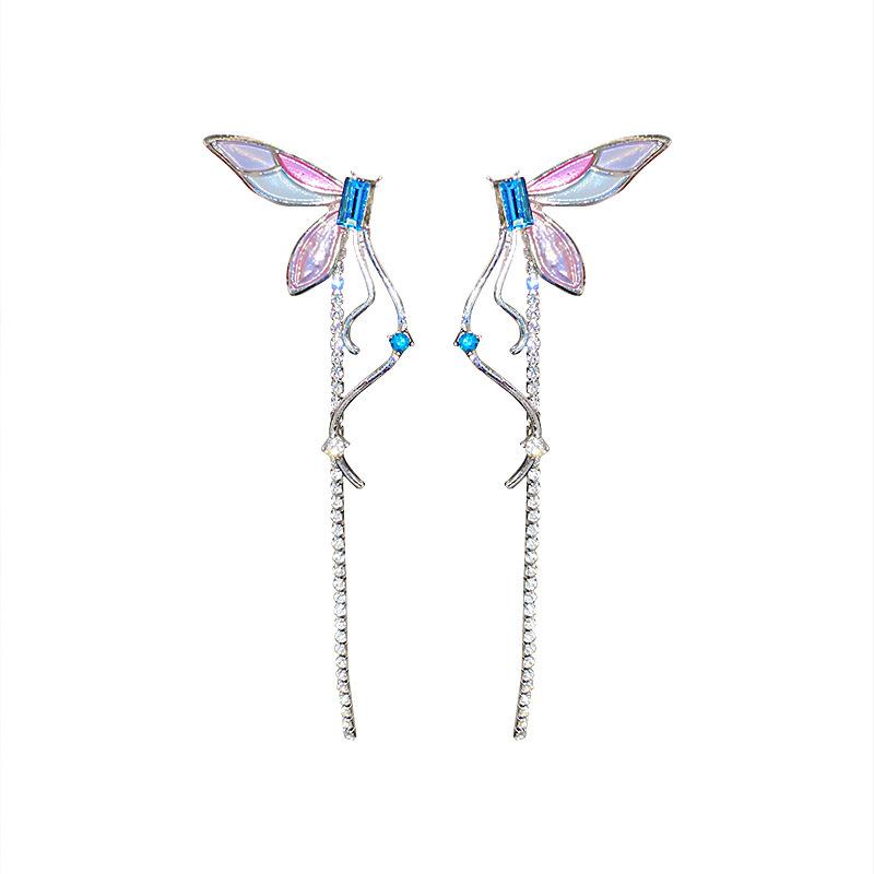fashion tassel diamond butterfly long earrings  NHQC368755