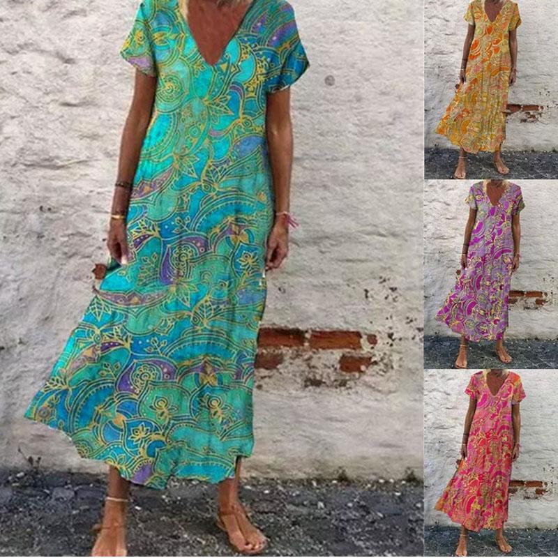 Fashion Printed Totem Round Neck MidWaist Dress  NHIS368749