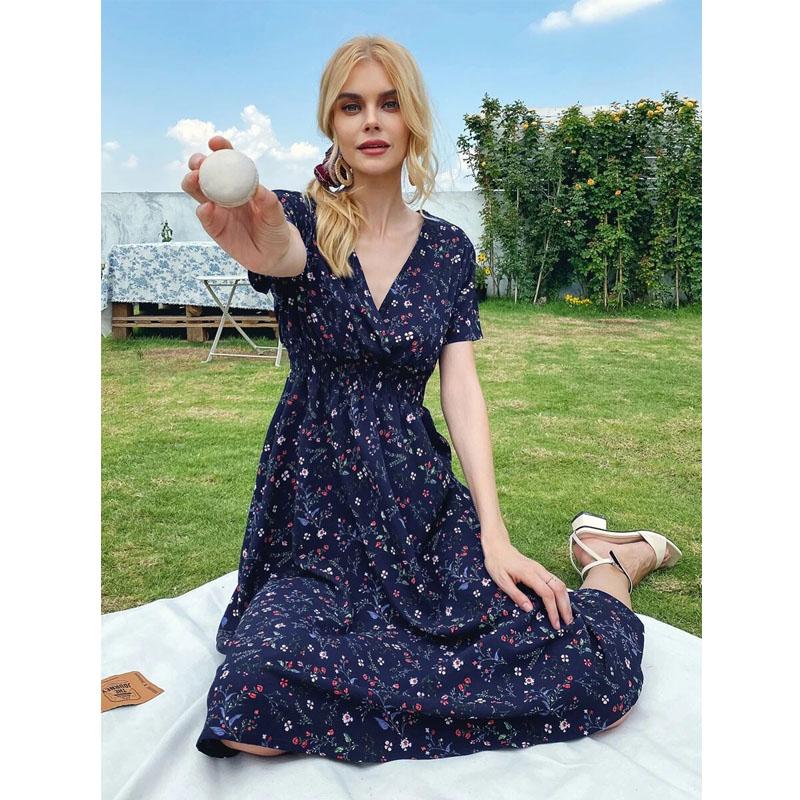 fashion floral vneck waist dress wholesale  NHIS368748