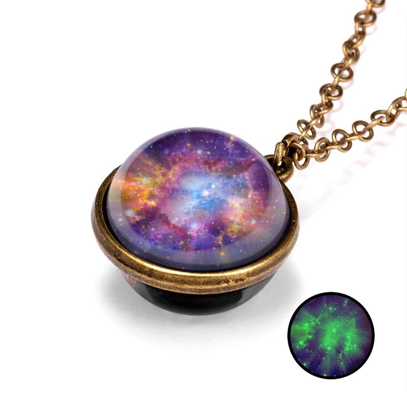 fashion galaxy luminous doublesided pendant necklace  NHQC369885
