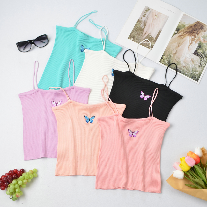 fashion butterfly embroidery knitted camisole NHZN364734