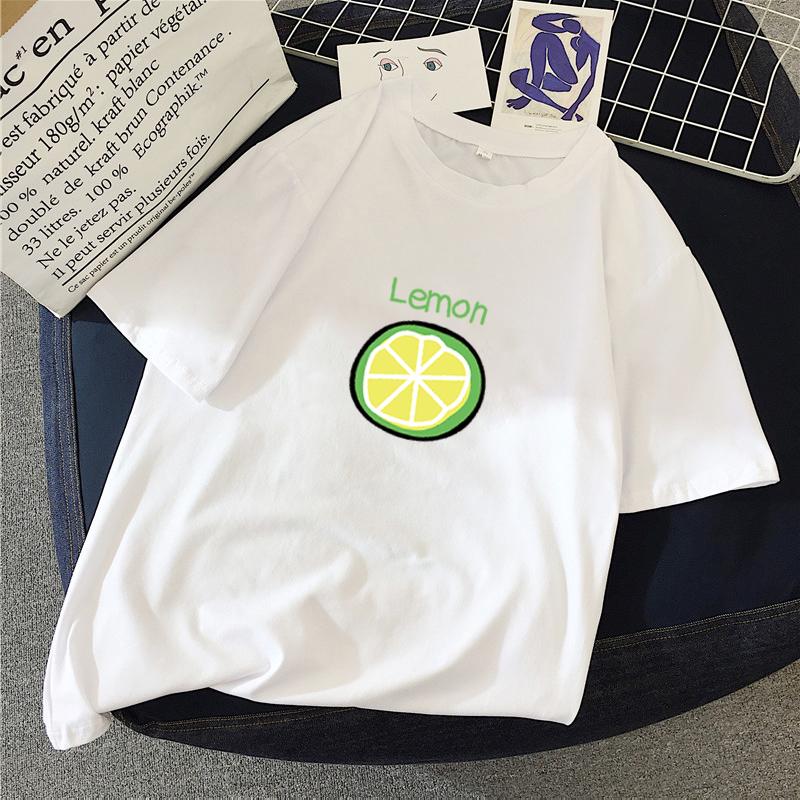 casual lemon printed shortsleeved loose Tshirt NHZN364673