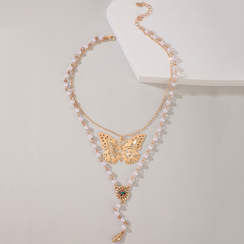 Fashion Butterfly Necklace Pearl Conch Pendant Double Necklace NHGY365918