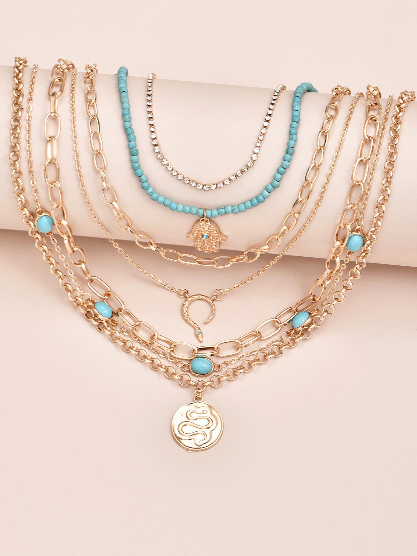retro eyes natural turquoise snake palm pendant necklace  NHAJ365911