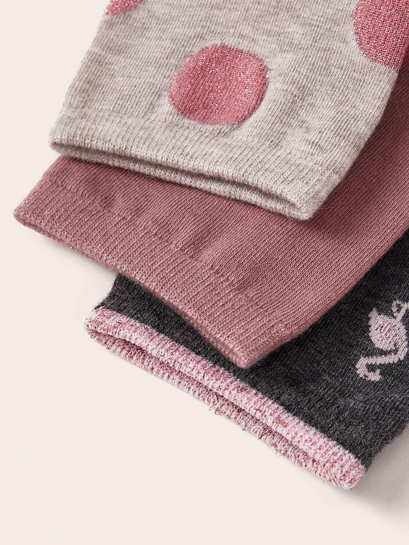 Gold Flamingo Set Womens Socks 3 Pairs NHPIN366427