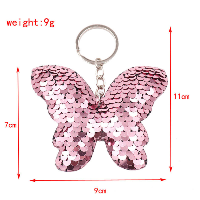 Doublesided sequin butterfly keychain reflective bow keychains bag Accessories wholesale NHWQ386097