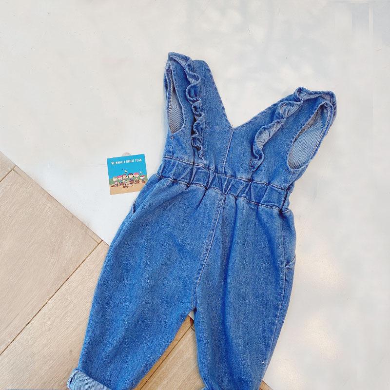 Wholesale denim jumpsuit childrens ruffled loose overalls trouser baby clothing 80cm130cm NHWU388832