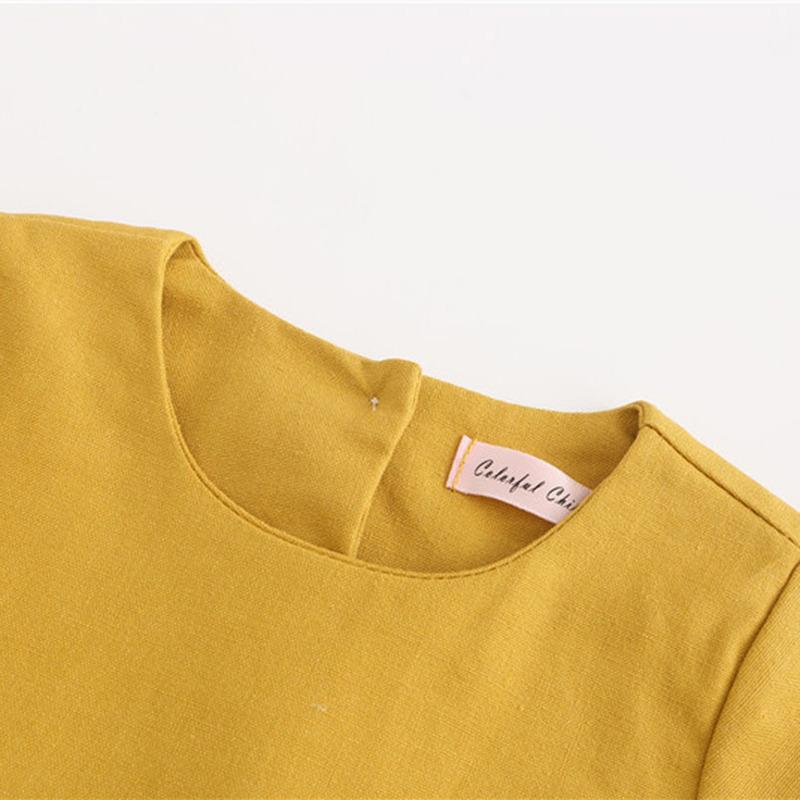 Wholesale Girls cotton linen shortsleeved dress childrens lace big wave princess dress 80cm130cm NHWU388829