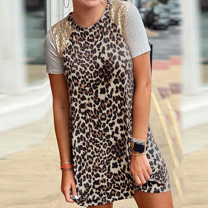 Wholesale Summer womens fashion leopard print stitching round neck sequin dress NHWA388821