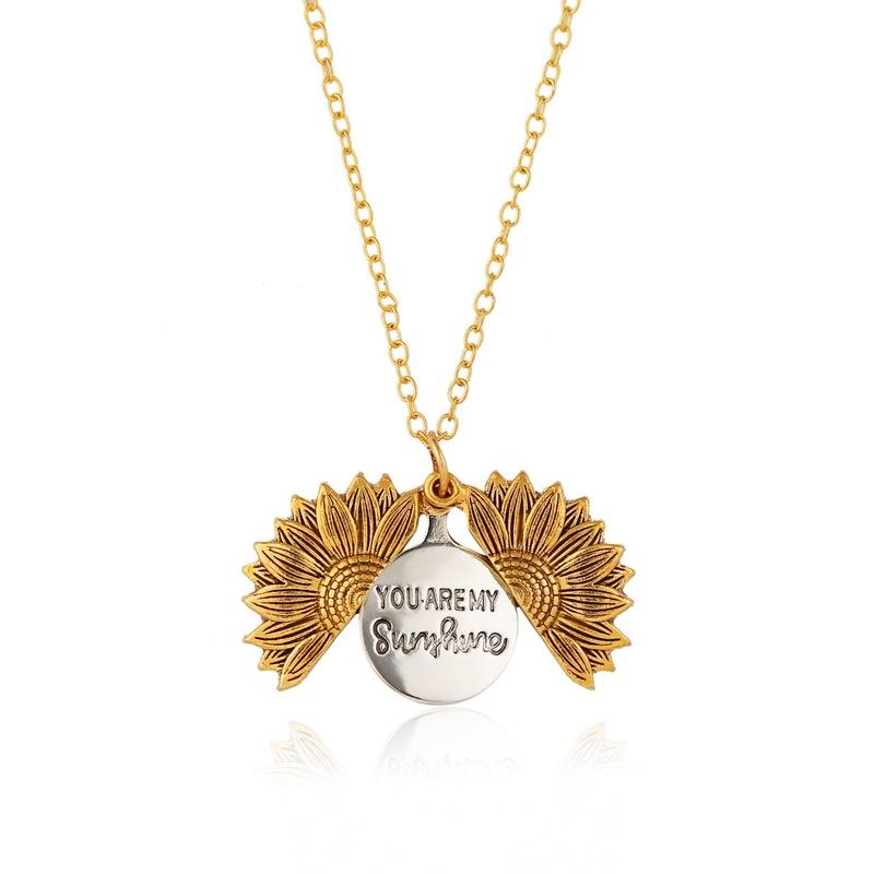 wholesale jewelry sunflower open lettering doublelayer pendant necklace nihaojewelry  NHQC389714