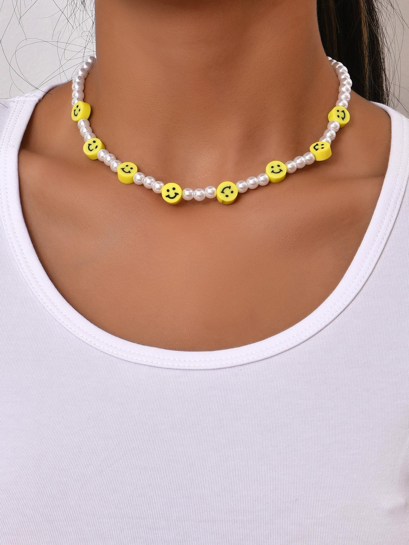 Wholesale Korean Retro Smiley Pearl Necklace Nihaojewelry  NHAJ392970
