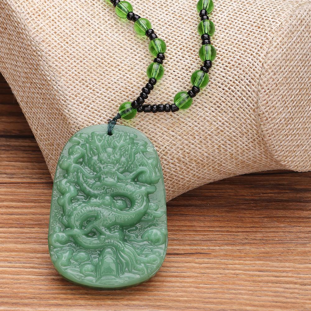 Nihaojewelry Wholesale Jewelry Retro Jade Dragon Brand Pendant Beads Necklace NHNZ383030