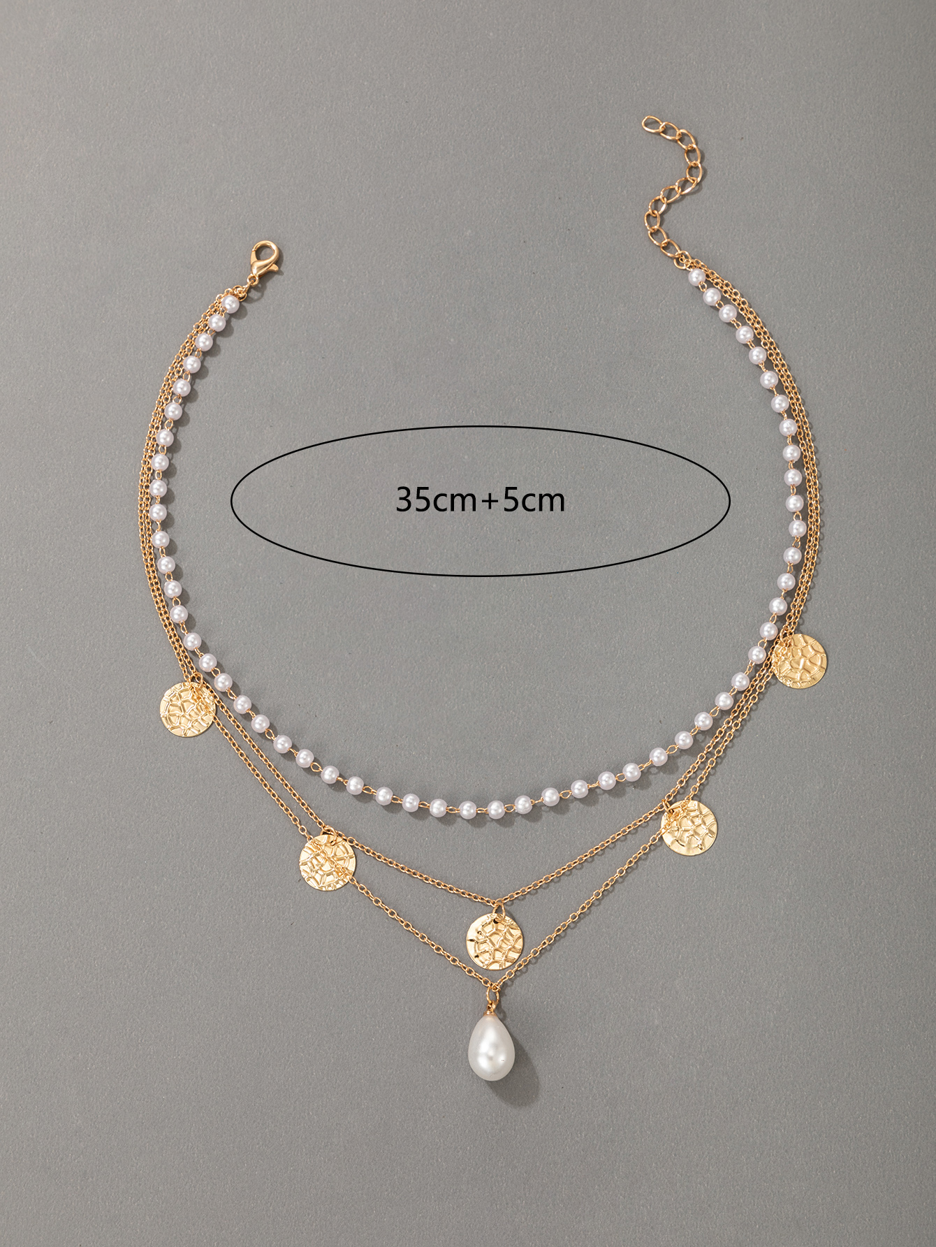 wholesale new water drop shell beads pendant pearl clavicle chain Nihaojewelry  NHGY400706