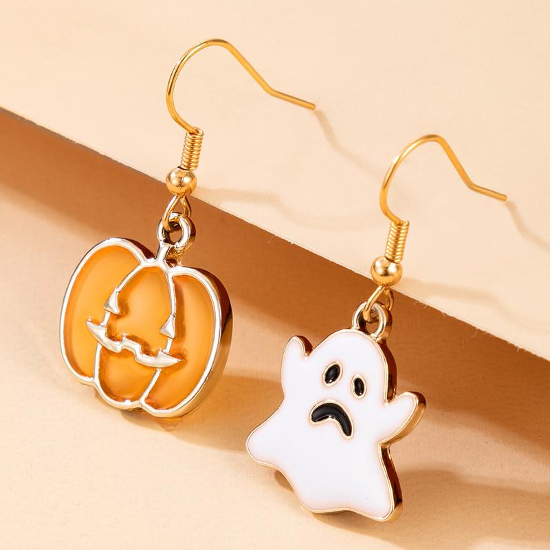 Wholesale Halloween Cute Pumpkin Ghost Bat Spider Wizard Hat Earring Nihaojewelry  NHGY400000